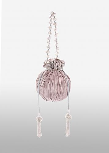 Mauve And Silver Potli Bag In Silk With Woven Silver Stripes And Cut Dana Embroidery Online - Kalki Fashion