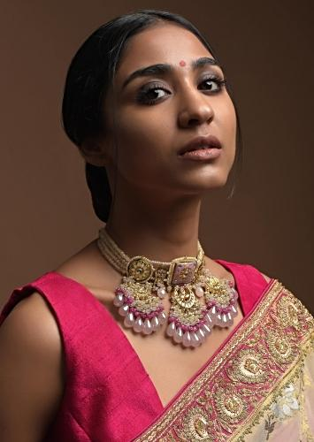 Mauve Carved Bead Choker With Kundan Crescent Design And Dangling Multi Color Beads Kohar By Kanika
