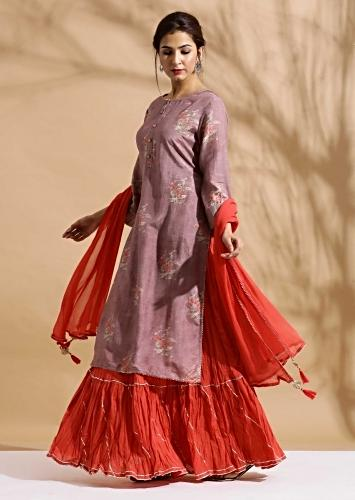 Mauve Suit In Cotton With Floral Print And Coral Skirt Bottoms Online - Kalki Fashion