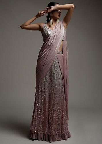 Mauve Pink Ready Pleated Saree In Sequins Fabric With Shimmer Frill On The Hemline And Matching Velvet Blouse Online - Kalki Fashion