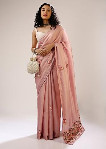 Mellow Rose Saree In Dupion Silk With Multi Colored Bud Embroidered Floral Buttis And Heavy Pallu Design Online - Kalki Fashion