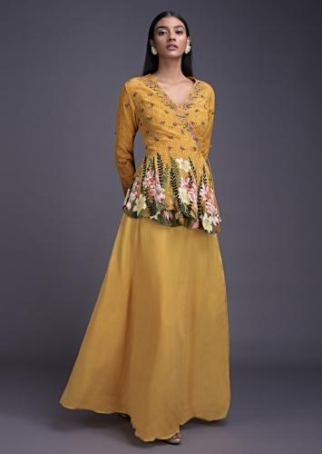Mellow Yellow Lehenga And Peplum Top In Angrakha Style With Floral Print And Embroidery Online - Kalki Fashion