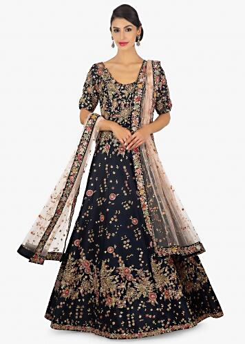 9071c189527d5 Midnight blue anarkali gown in zari and sequins floral motif only on Kalki