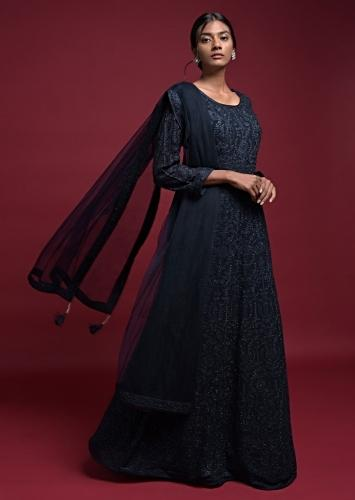 Midnight Blue Anarkali Suit In Georgette With Thread And Kundan Embroidered Floral Pattern Online - Kalki Fashion