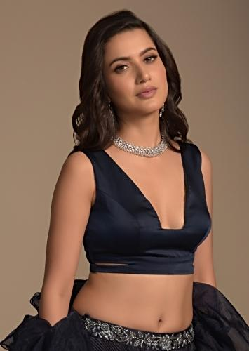 Midnight Blue Blouse In Satin With Plunging Trapeze Neckline And Side Cut Outs Online - Kalki Fashion