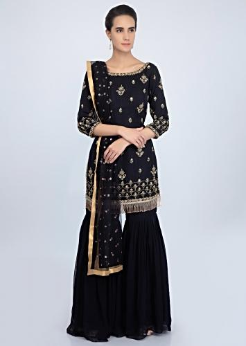 d2f8964d98 Midnight blue georgette suit set in embroidered butti and border only on  Kalki
