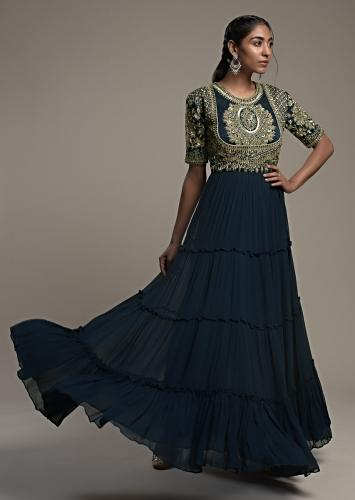 Midnight Blue Indowestern Gown Hand Embroidered With Zardosi And Cut Dana Work On The Bodice Online - Kalki Fashion