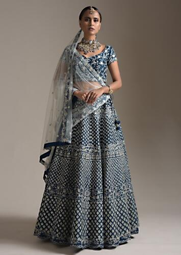 Midnight Blue Lehenga Choli In Raw Silk With Thread And Sequins Embroidered Buttis And Floral Design Online - Kalki Fashion