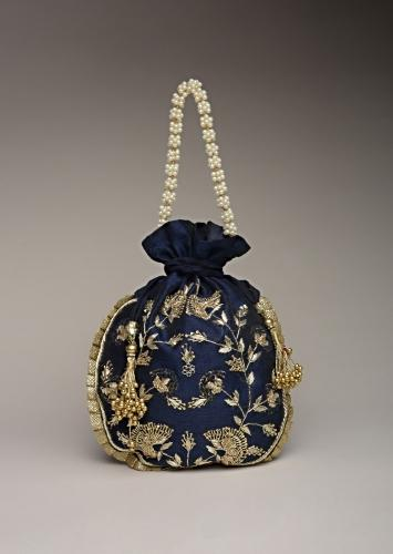 Midnight Blue Potli Bag In Raw Silk With Hand Embroidered Floral Design Using Sequins And Zardosi Online - Kalki Fashion