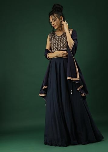 Midnight Blue Skirt And Crop Top Set With Zari And Sequins Embroidered Checks Design Online - Kalki Fashion