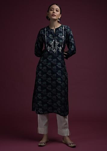 Midnight Blue Straight Cut Kurti In Cotton Silk With Printed Floral Buttis And Mirror Embroidered Yoke Online - Kalki Fashion