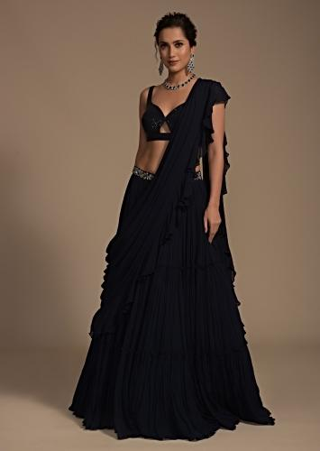 Midnight Blue Tiered Lehenga With Attached Ruffle Dupatta And Sequins Crop Top With Front Cut Out Online - Kalki Fashion