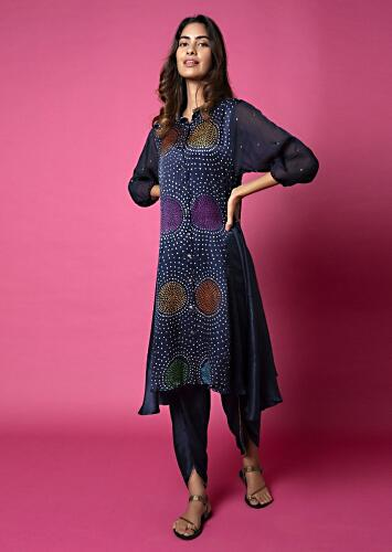 Midnight Blue Tunic Featuring Multi Colored Bandhani And Balloon Sleeves Paired With Tulip Pants Online - Kalki Fashion