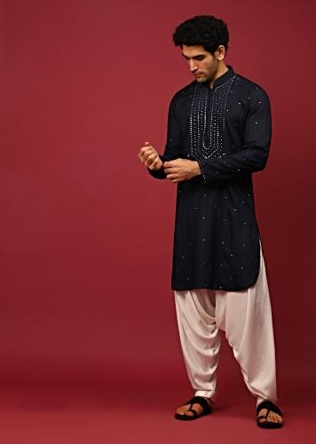 Midnight Blue Pathani Suit In Cotton With Mirror And Thread Embroidered Buttis And Heavy Placket Design Online - Kalki Fashion