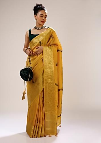 Mineral Yellow Saree In Silk With Multi Colored Bud Hand Embroidered Flowers In Striped Design And Brocade Border Online - Kalki Fashion