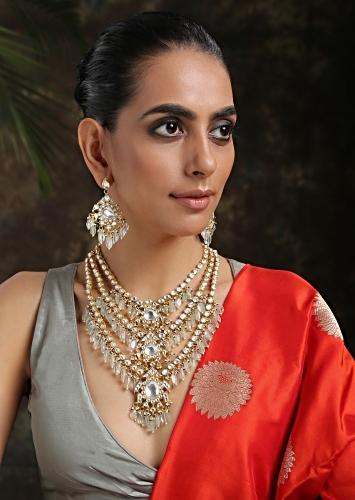 Mint And Gold Layered Necklace Set Adorned In Kundan Work In Floral Motifs, Pearls And Aquamarine Stones By Paisley Pop