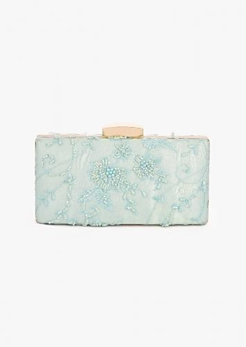 Mint Elongated Box Clutch In Embroidered Net With Elaborate Metal Clasp And Cut Dana And Resham Embroidered Floral Motifs Online - Kalki Fashion