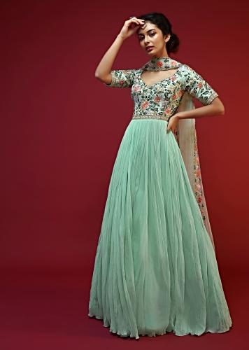 Mint Green Anarkali Suit In Georgette With A Heavily Embroidered Bodice With Colorful Resham Embroidered Floral Design Online - Kalki Fashion