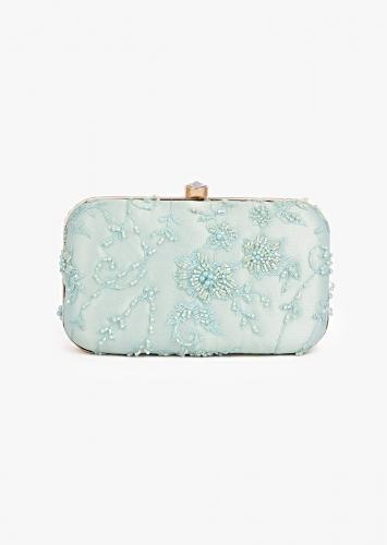 Mint Rounded Box Clutch In Embroidered Net With Cut Dana And Resham Embroidered Floral Motifs Placed In Abstract Design Online - Kalki Fashion