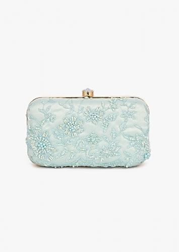 Mint Small Rounded Box Clutch In Embroidered Net With Cut Dana And Resham Embroidered Floral Motifs Placed In Abstract Design Online - Kalki Fashion