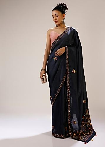 Mood Indigo Saree In Satin Silk With Bud Embroidered Floral And Honeycomb Motifs On The Pallu Along With Butti Design Online - Kalki Fashion