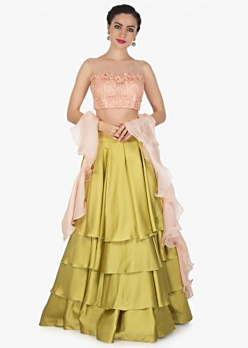 59c5e40d7d Moss green skirt matched with pink embroidered crop top blouse only on Kalki