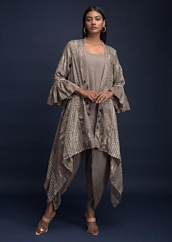 Mouse Grey Dhoti Suit In Silk Blend With Matching Tribal Printed Jacket With Ruffle Sleeves Online - Kalki Fashion