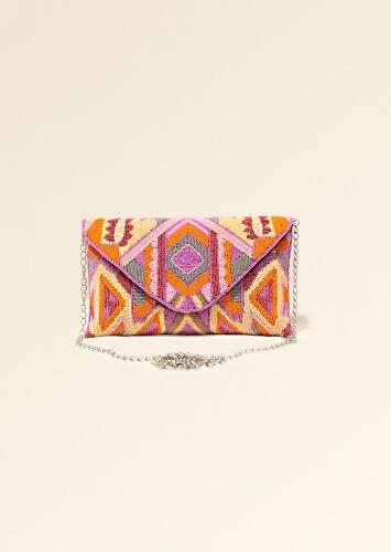 Multi Color Envelope Clutch With Hand Embroidered Cut Dana Work In Shades Of Pink, Orange And Cream Online - Kalki Fashion