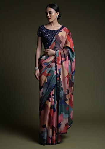 Multi Colored Abstract Printed Saree In Silk With Midnight Blue Sequin Embellished Blouse Online - Kalki Fashion-US 0