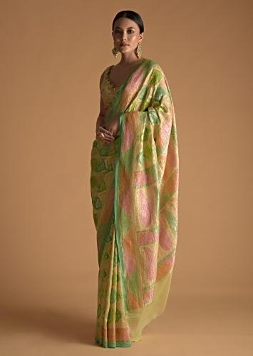 Multi Shades Of Green Toned khaddi Georgette Saree Adorn With  With Weaved Jaal Embroidery Online - Kalki Fashion