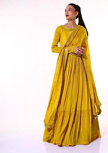 Mustard Anarkali Suit In Satin Crepe With Mirror Embroidered Neckline And Tiered Flare Online - Kalki Fashion