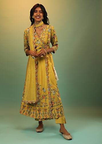 Mustard Angrakha Suit With Multi Colored Resham And Beads Embroidered Floral Motifs Online - Kalki Fashion
