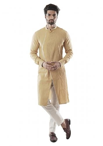 Mustard Asymmetric Kurta Set With Pin Tucked Embroidered Panel And Narrow Fitted Pant Online - Kalki Fashion