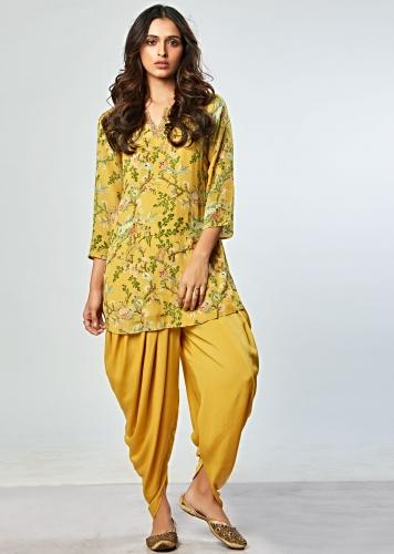 dd7916078a3 Mustard floral printed top with matching dhoti pant only on Kalki