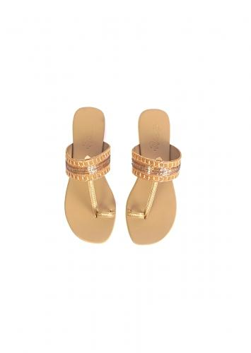 Mustard Kolhapuri Flats With Gold Sequins And Zari Work By Sole House