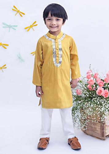 Mustard Kurta And Churidar Set With Embroidery Detailing On The Neckline By Fayon Kids