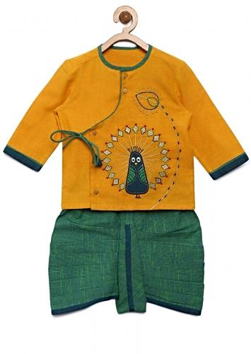 Mustard Kurta Set With Thread Embroidered Peacock Motif And Green Checks Dhoti By Tiber Taber