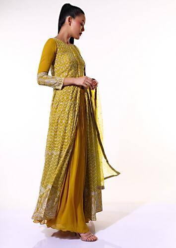 Mustard Palazzo Suit With Front Slit Anarkali Adorned In Lucknowi Thread And Sequins Embroidery Online - Kalki Fashion