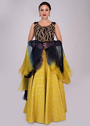de636413ab864 Mustard skirt paired with persian blue sequins embroidered blouse and  ruffled organza dupatta only on Kalki