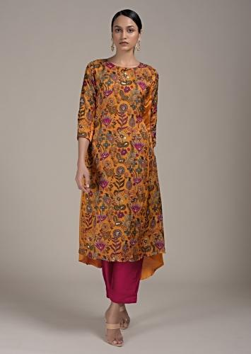 Mustard Yellow A Line Suit In Satin Blend With Botanical Print And High Low Hemline Online - Kalki Fashion