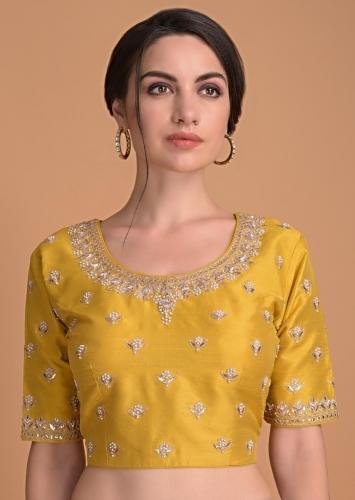 Mustard Yellow Blouse In Raw Silk With Gotta Patch Embroidery And Floral Buttis Online - Kalki Fashion