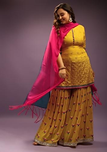 Mustard Yellow Palazzo Suit With Mirror Abla Work And Thread Embroidered Buttis Online - Kalki Fashion