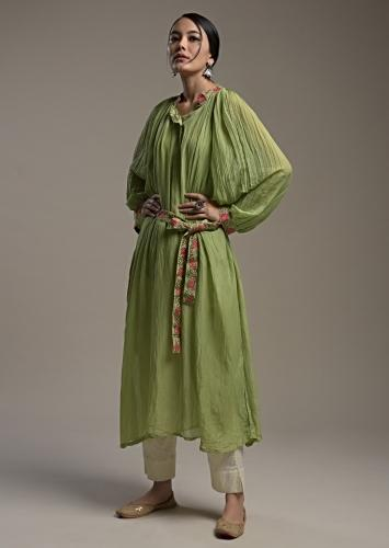 Nature Green Peasant Tunic In Cotton With Thread Work Detailing And Matching Embroidered Belt Online - Kalki Fashion