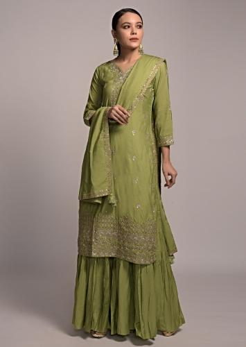 Nature Green Sharara Suit In Cotton With Zari And Gotta Patti Embroidered Buttis Online - Kalki Fashion