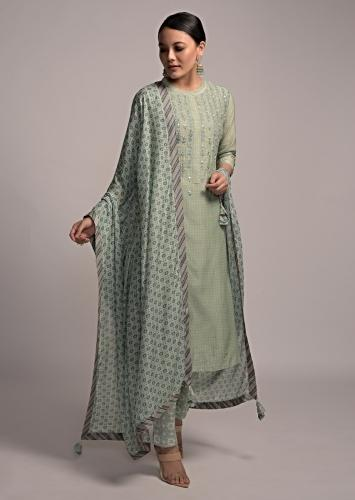 Nature Green Straight Cut Suit In Cotton With Polka Dot Print And Resham Embroidery Online - Kalki Fashion