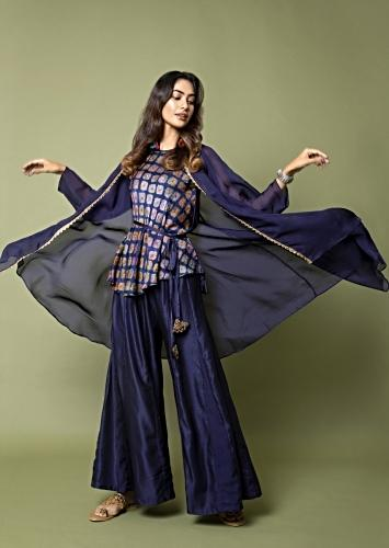 Navy Blue Belted Top With Water Color Effect Bandhani Paired With Paneled Sharara Pants And Jacket Online - Kalki Fashion