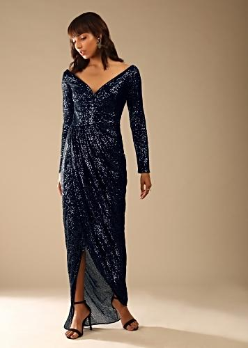 Navy Blue Gown In Sequins Fabric With Plunging Neckline And Cowl Draped Overlapping Slit Online - Kalki Fashion