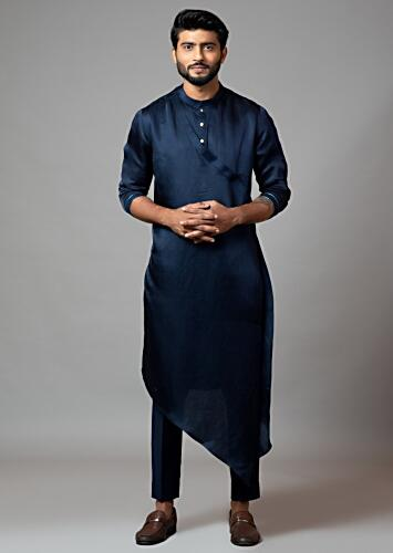 Navy Blue Kurta Set With Asymmetric Drape And Adorned In Minimal Thread Embroidery On The Sleeves By Smriti Apparels