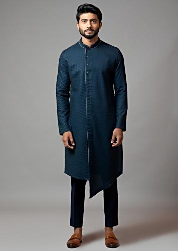 Navy Blue Kurta Set With Pin tucks On The Side And Grey Piping  By Smriti Apparels