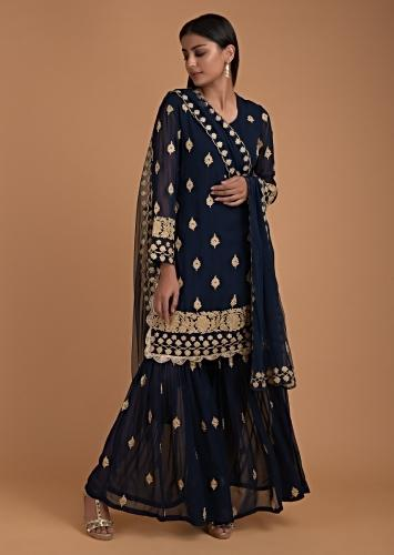 Navy Blue Sharara Suit With Zari Embroidered Buttis And Floral Border Online - Kalki Fashion